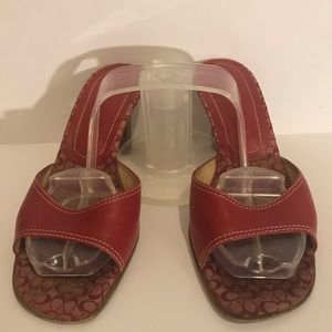 Coach Red Leather Open-toe Heels 7.5 B